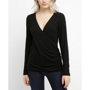 Abbeline Surplice Rouched Long Sleeve Top